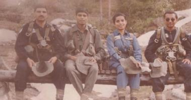 an old photo of gunjan saxena with other pilots