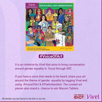 an image showing an art depicting everyone in different professions, and with text : rock and ross, not gender role for voice of art by vivel by itc and the indian idiot