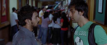 still from the movie wake up sid, two boys taking to each other