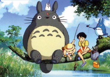 in photo the characeters from the movie my neighbour totoro sitting on the bark of a tree