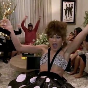 in picture moment from when zendaya won emmys 2020 at her home with her family