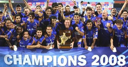 rajsthan royal lifting the cup during the ipl final of 2008