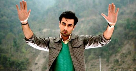 rabir kapoor as the charcater barfi in a still from the movie barfi