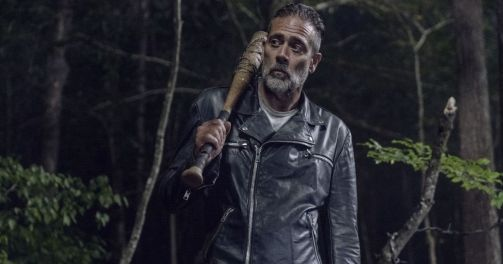 in photo the character negan rom the tv show the walking dead