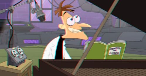 in photo the animated character Doofenshmirtz from the show phineas and ferb