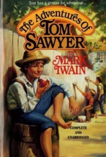 in photo the cover of the book tom sawyers adventures