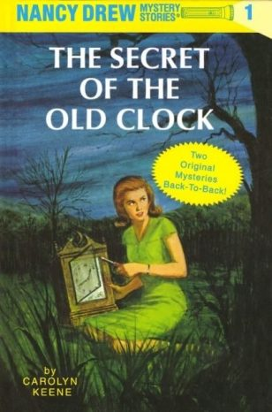 in photo the cover of the Nancy Drew Mystery Stories book