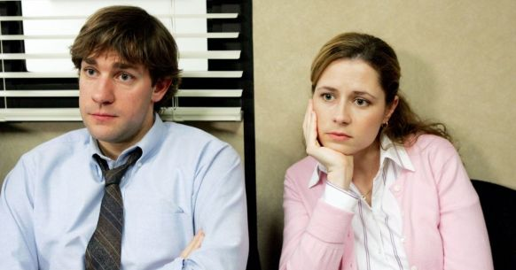 in photo the charcaters jim and pam from the tv show the office