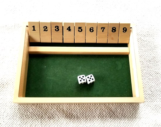 shut the box, math games, math fluency, fun math games, math games for kids, elementary math games, montessori services, for small hands, automatic recall games
