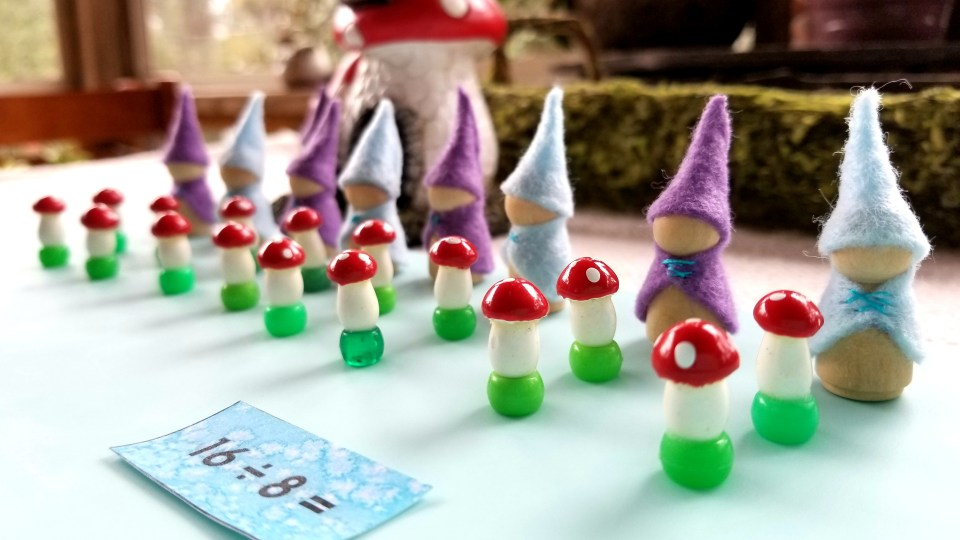 basic division, montessori division, montessori math, dividing gnomes, miniature gnomes, indigo kids math, indigo children homeschool, teaching indigo children, fantasy math, elementary math, progressive education, diy montessori math, creative learning math, creative division, fun division