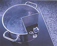 ice on induction element that is boiling water