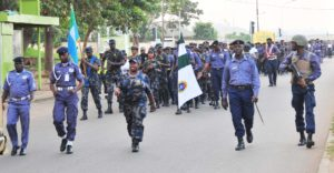 PIC.3. OFFICERS AND MEN OF NIGERIAN NAVY AND AIR FORCE AT A JOINT ROUTE MARCH IN ABUJA ON SATURDAY (27/9/14). 4824/27/9/14/JAU/AIN/NAN