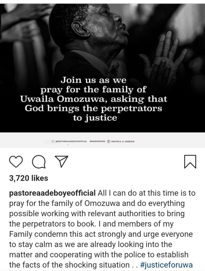 Uwa Omozuwa: Pastor Adeboye reacts to the rape and murder of UNIBEN student in one of the branches of his church 1
