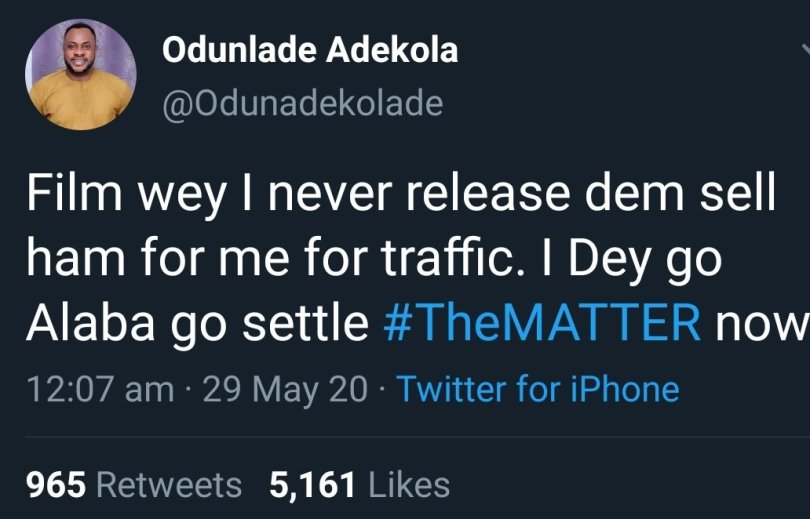 Actor Odunlade Adekola joins the #TheMatter trend, says he saw a movie he is yet to release being sold in traffic