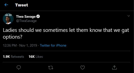 You dumped Teebillz for Wizkid, now Wizkid has dumped you for Teni - Fan drags Tiwa Savage