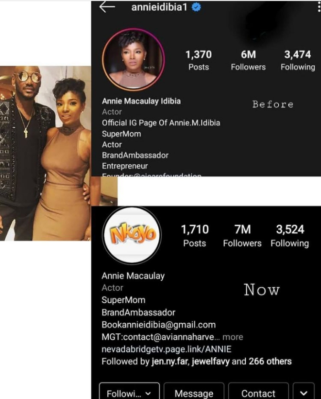 2Baba and Wife Annie Idibia fight