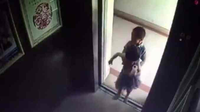 Video shows a baby girl being pushed into an elevator before falling to death