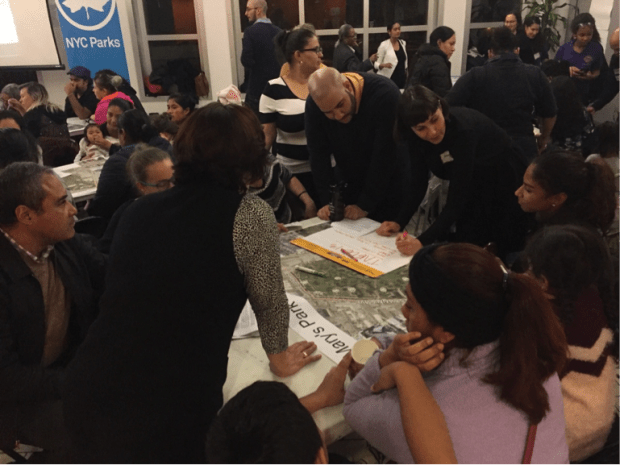 With two group discussion leaders at each table, residents were able to present their ideas for improving St. Mary's Park. (The Ink/Angel Au-Yeung)