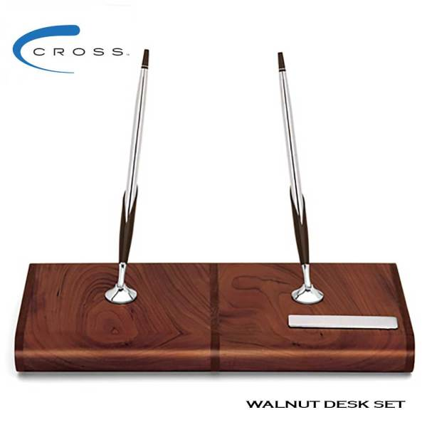 Cross walnut desk set