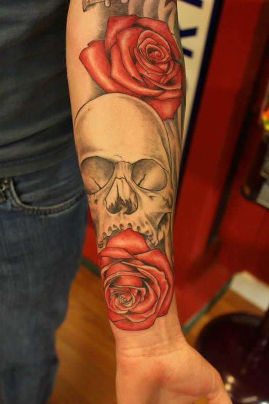 Skull and Rose Sleeve in Progress