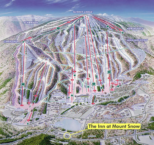 Map of Mount Snow places to stay