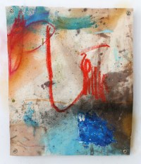 (SOLD) Remnant Red - mixed media on canvas - 14x12 inches - 2012