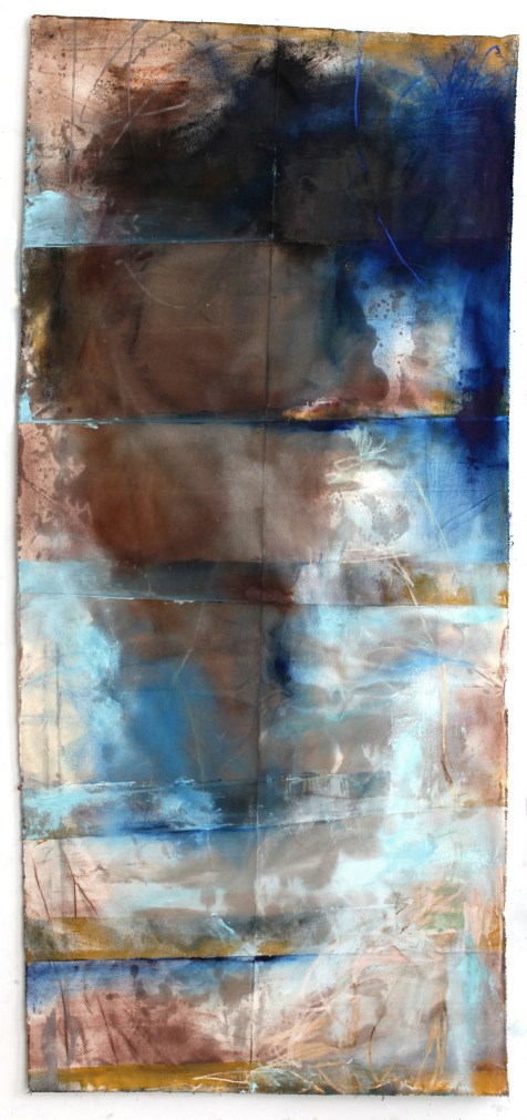 (SOLD) Stain Behind Bars - mixed media on canvas - 82x36 inches - 2011