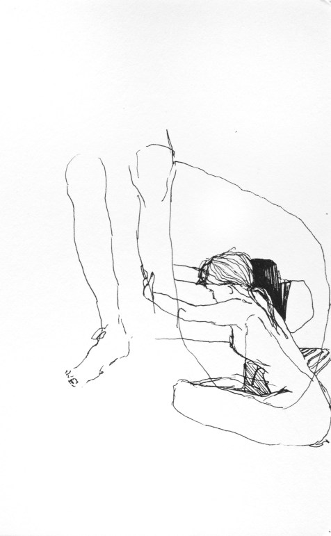 (SOLD) Tethered - ink on paper - 8x6 inches - 2012