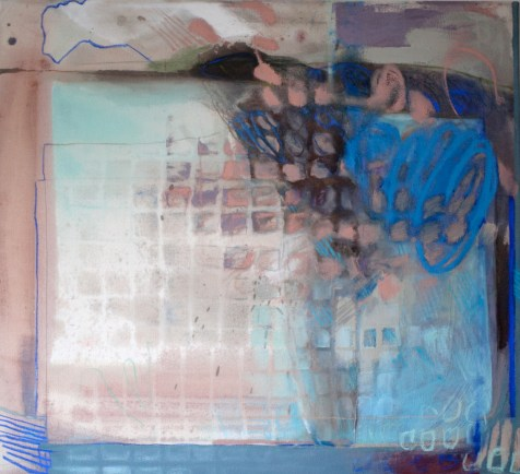 (SOLD) Vulnerable - mixed media on canvas - 33x36 inches - 2013