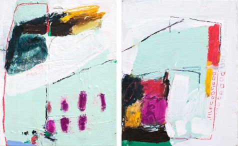 (SOLD) Probability and Perfection (diptych) - mixed media on canvas - 8x10 inch panels - 2014
