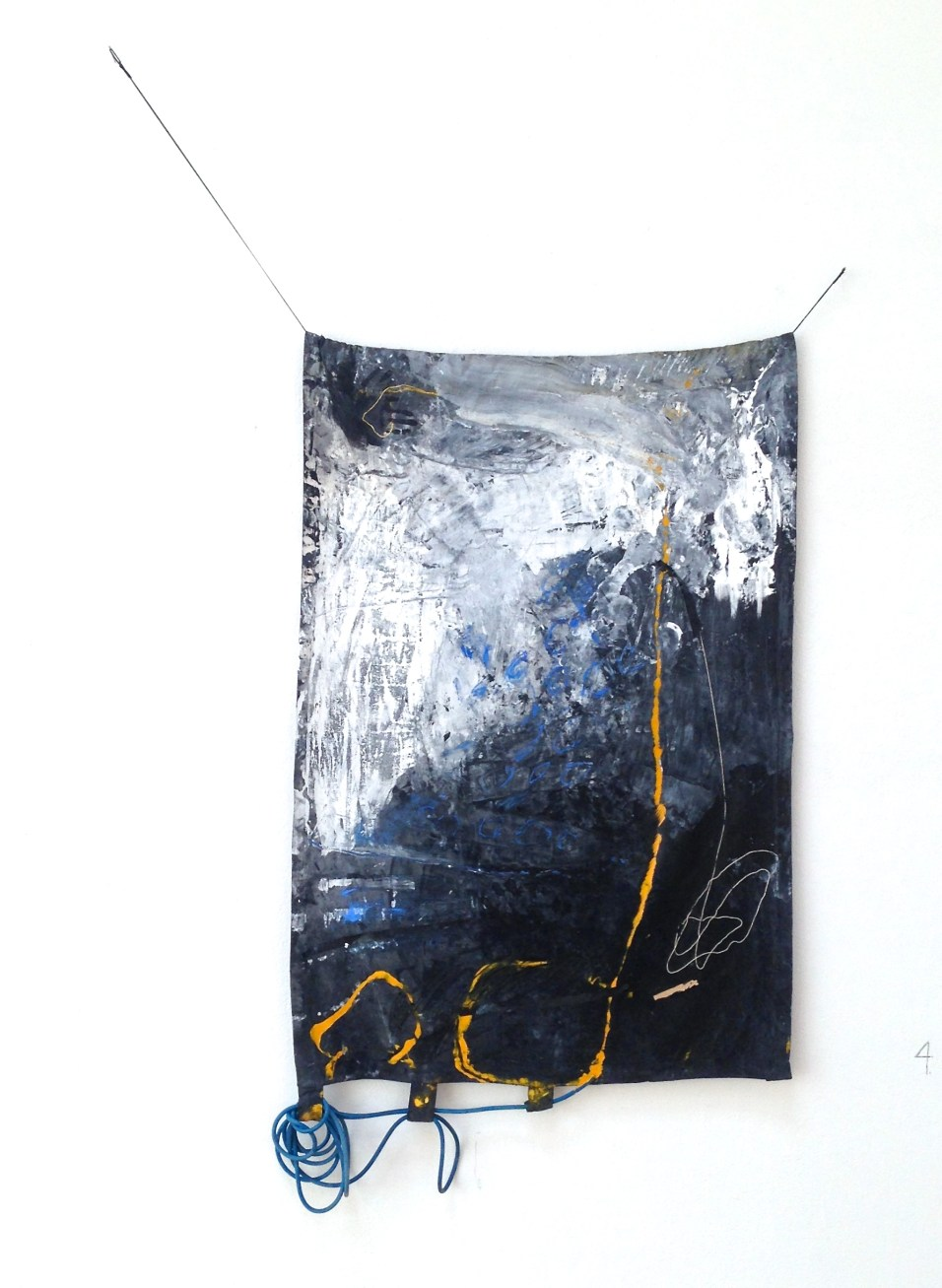 How I Hold It - latex and acrylic paints, tape, string, pastel, elastic cord, and exercise bands on canvas - 69x40 inches - 2015