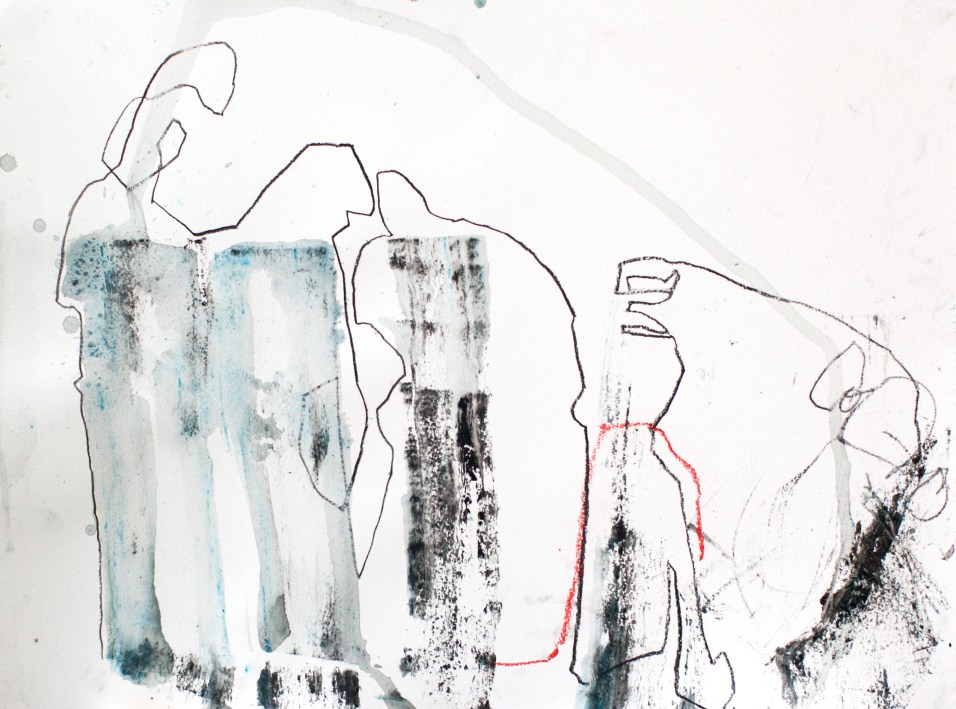 Playing Telephone - mixed media on paper - 18x24 inches - 2014