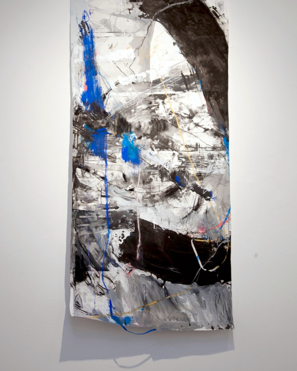That Which Is Not Seen - Silkscreen ink, pastel, and string on paper - 48x120 inches - 2015