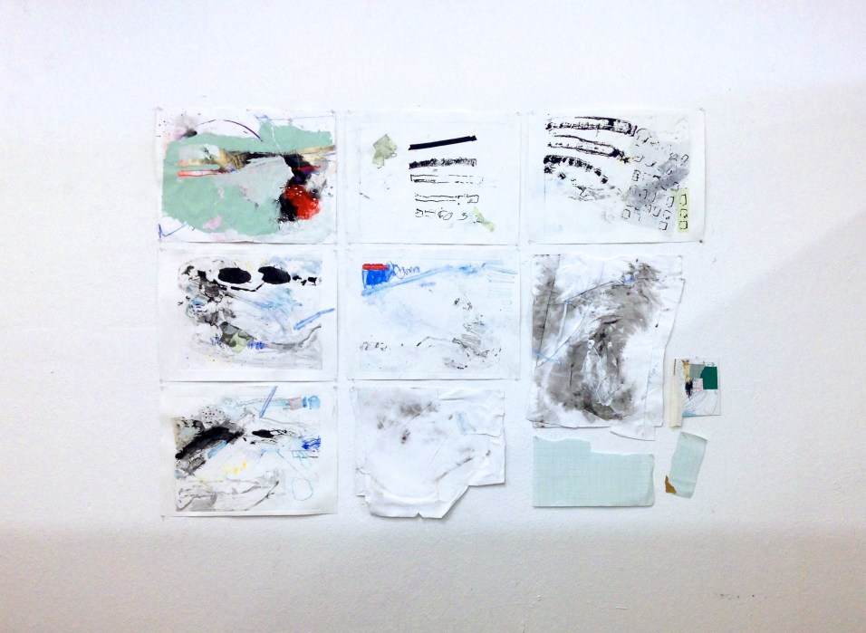 The Faulty Grid - screenprints, tape, stickers, pastel, charcoal, ink, and latex paint on papers - dimensions variable - 2015