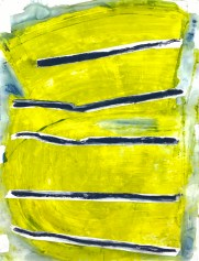 Set the Bar (in Yellow and Navy) - acrylic paint, pastel, and watercolor crayon on paper - 42x32 inches