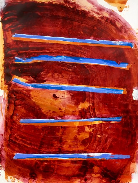Bars Against Scarlet - 42x32 inches - acrylic, pastel, and watercolor crayon on paper - 2017