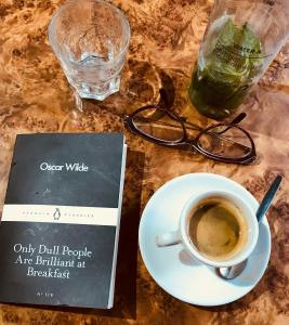 A book and coffee.