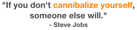 If you don't cannibalize yourself, someone else will Steve Jobs Quote