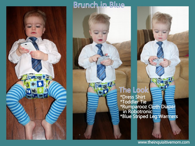 Have a Bit of Fun for a Special Occasion with a Shirt, Tie, Rumparooz Cloth Diaper, & Striped Leg Warmers