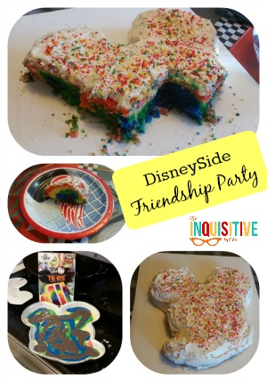 How to Host a Friendship Party Mickey Mouse Cake The Inquisitive Mom @disney @theinqmomblog #disneyside