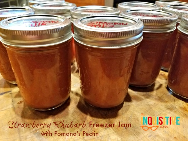 Strawberry Rhubarb Freezer Jam with Pomona's Pectin from The Inquisitive Mom