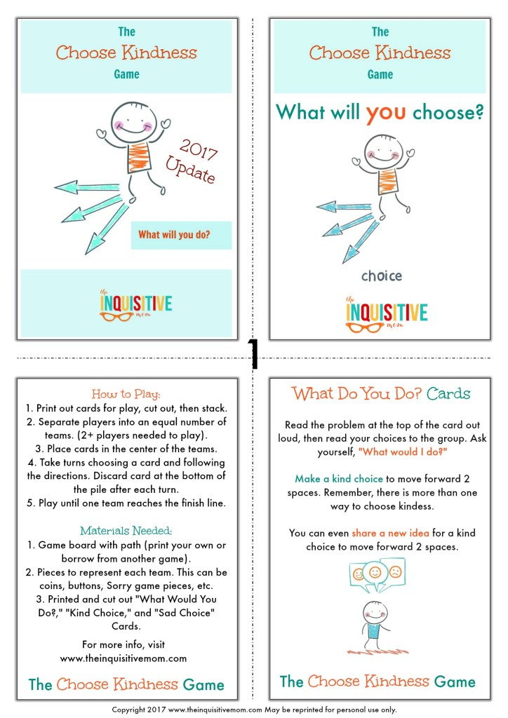 The Choose Kindness Game from The Inquisitive Mom Page 1