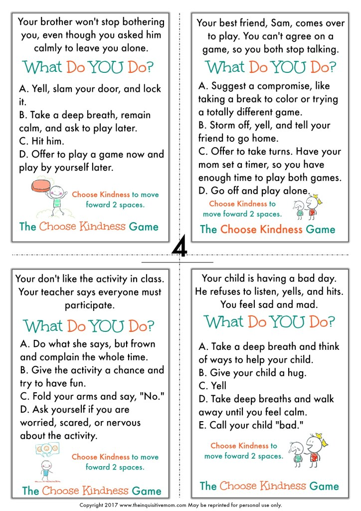 The Choose Kindness Game from The Inquisitive Mom Page 4