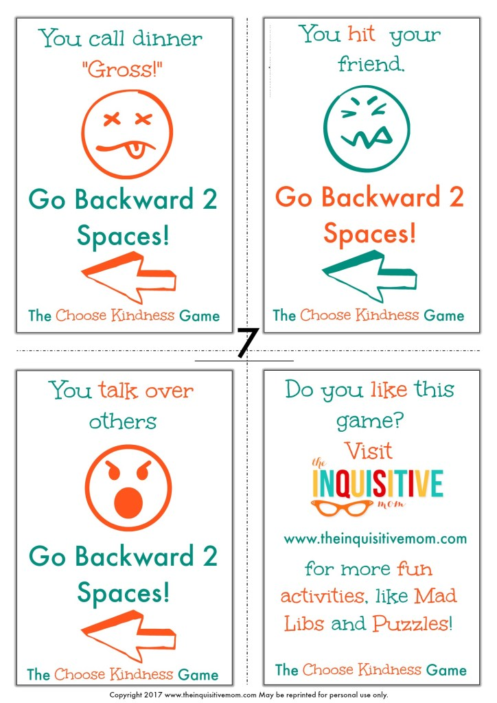 The Choose Kindness Game from The Inquisitive Mom Page 7