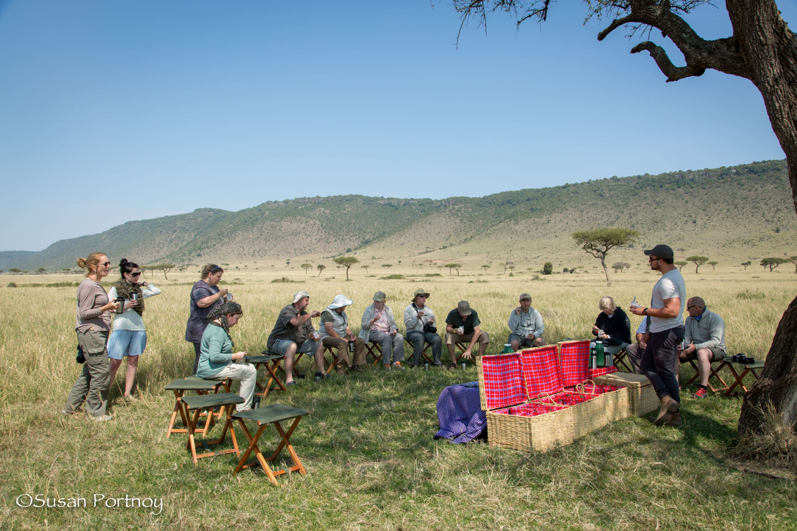 A casual breakfast picnic in the Mara