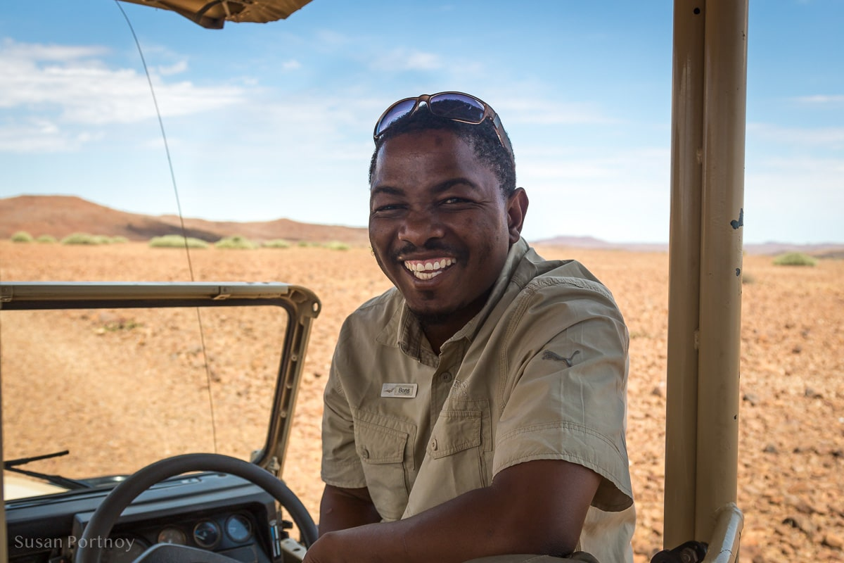 Bons Roman, my guide at Desert Rhino Camp in Namibia, an hour or so after he picked up up at the airstrip