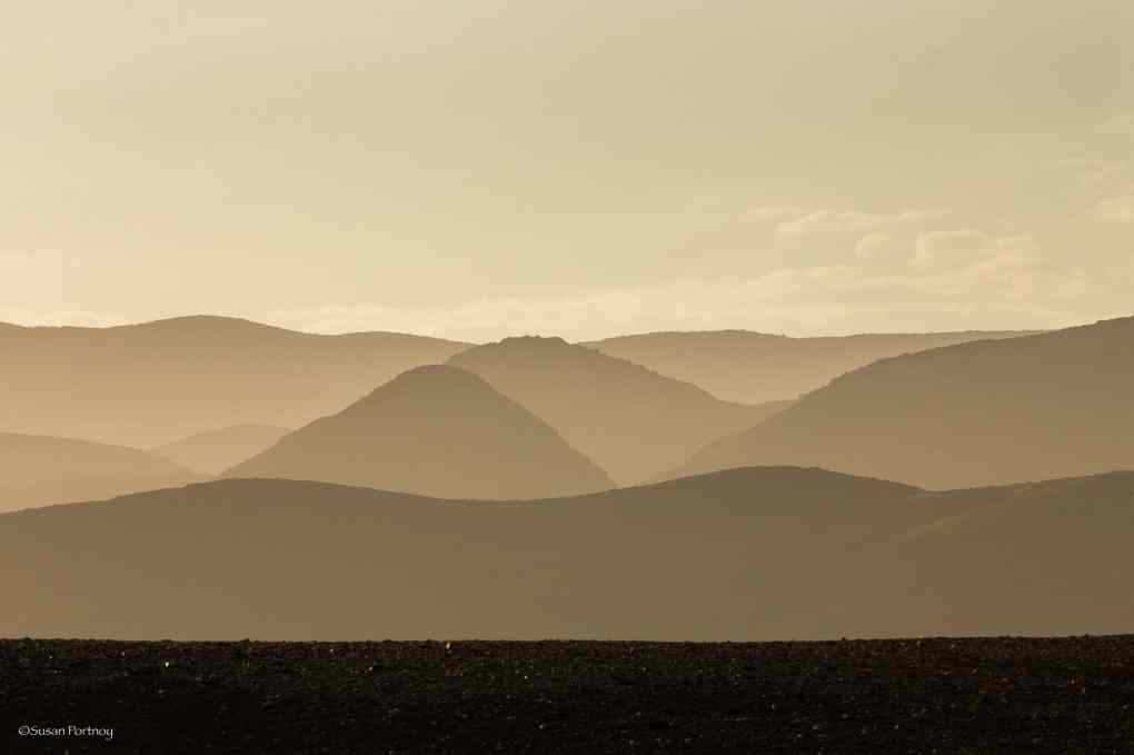 Mountains near Serra Cafema in graphic Silhouette in Namibia