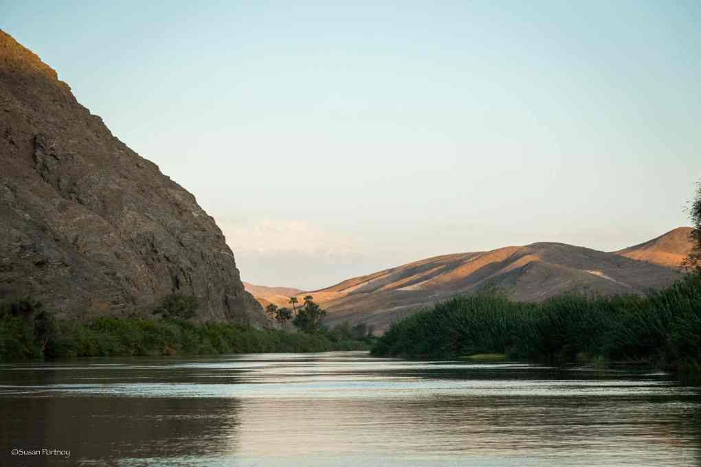 The view from Serra Cafema as we head east up the Kunene River just after sunrise