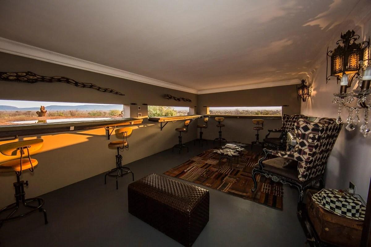 Inside the hide at Molori safari lodge
