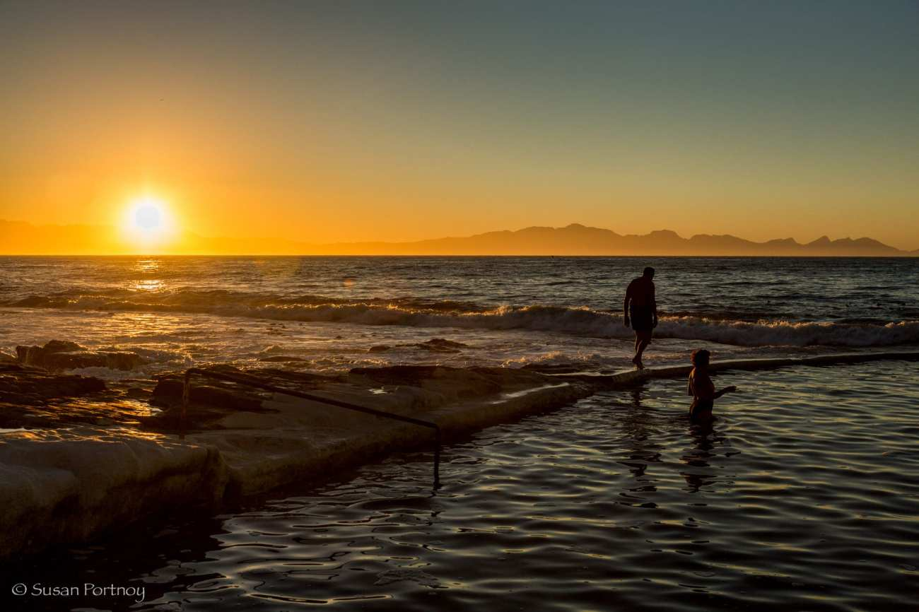 Sunrise near one of the natural pools along the coast of Cape Town